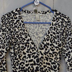 White House Black Market top animal print + pendan